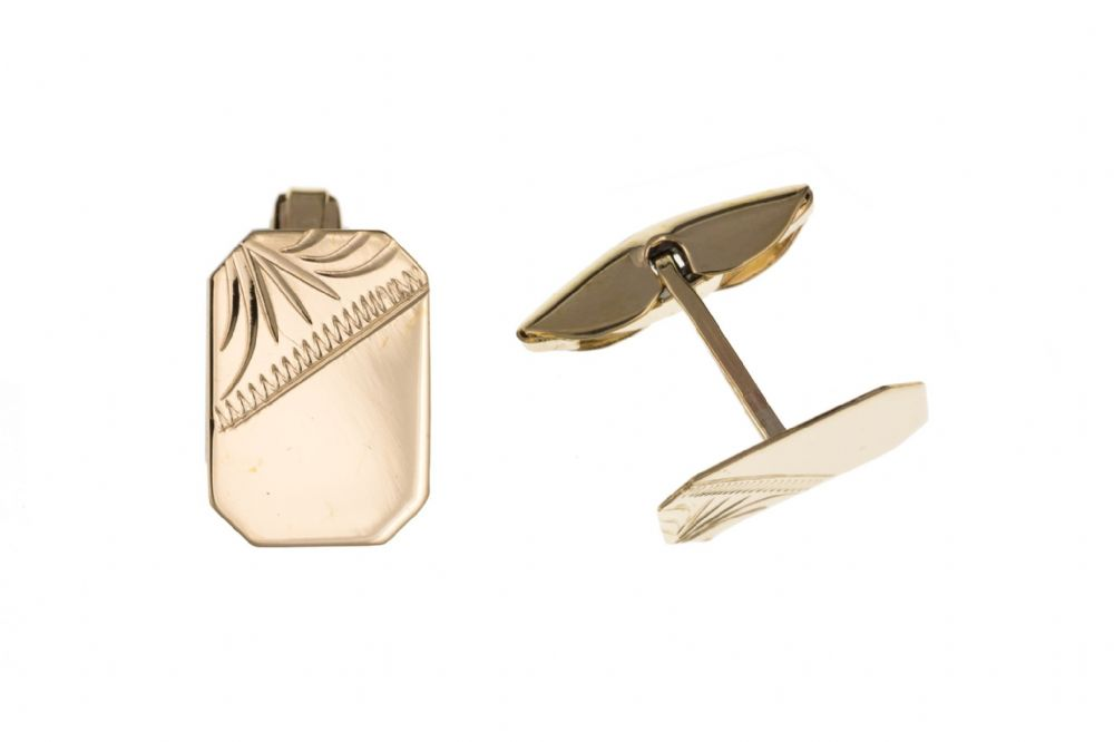 Yellow Gold Part Engraved Octagonal Patterned Cufflinks